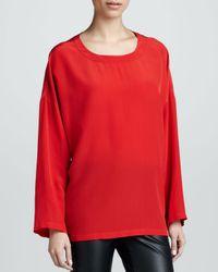 M Missoni Red Silk Boxy Blouse