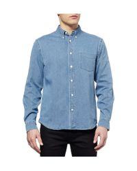 Acne Studios Blue Isherwood Button-down Collar Washed-denim Shirt for men