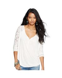 Denim & Supply Ralph Lauren | Natural Lace Raglan-sleeved Henley | Lyst
