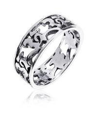 Aeravida | Metallic Peaceful Harmony Aum Or Ohm Symbol .925 Silver Band Ring | Lyst