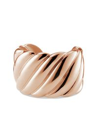 David Yurman - Pink Sculpted Cable Wide Cuff In Rose Gold - Lyst