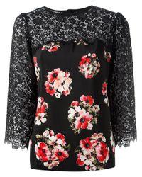 Dolce & Gabbana | Black Floral Lace Blouse | Lyst