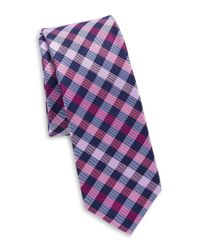 Original Penguin Pink Silk Plaid Tie for men