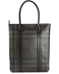 Burberry - Gray House Check Tote for Men - Lyst