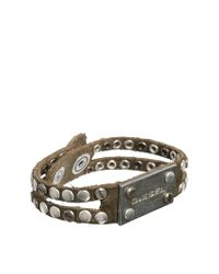 DIESEL | Black Avite Studded Plaque Bracelet for Men | Lyst