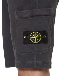 Stone Island | Gray Cotton Fleece Shorts for Men | Lyst