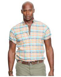 Polo Ralph Lauren Orange Big And Tall Short-sleeved Oxford Shirt for men