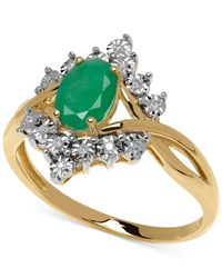 Macy's | Green Emerald (7/8 Ct. T.w.) And Diamond Accent Ring In 10k Gold | Lyst