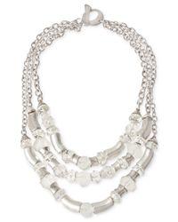 Robert Lee Morris | Metallic Silver-Tone Crystal Three-Row Necklace | Lyst