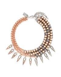 Assad Mounser Pink 'moonage Daydream' Spike Curb Chain Collar Necklace