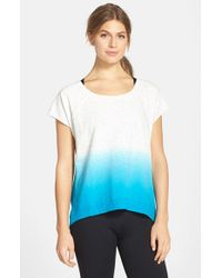 Marc New York Blue By Andrew Marc Dip Dye Short Sleeve High/low Pullover