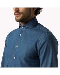 Tommy Hilfiger | Blue Cotton Poplin Slim Fit Shirt for Men | Lyst