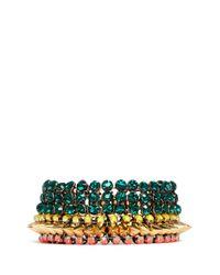 Venna | Multicolor Crystal Spike Chunky Bracelet | Lyst