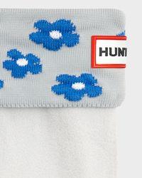 HUNTER Blue Original Floral Cuff Boot Socks