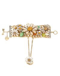 Betsey Johnson | Metallic Flower Child Faux Pearl Daisy Cuff Bracelet And Ring Set | Lyst