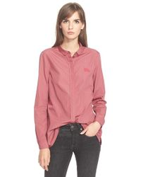 Burberry Brit | Pink Check Print Cotton Shirt | Lyst