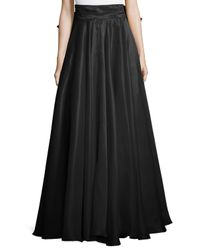 MILLY | Black Bow-back Silk Maxi Skirt | Lyst