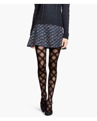 H&M - Black Patterned Tights - Lyst