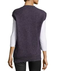 Stella McCartney - Blue Sleeveless Ribbed Wool-blend Sweater - Lyst