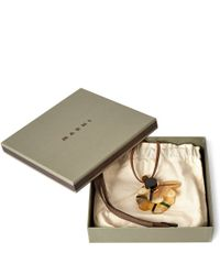 Marni Natural Beige Single Tartan Flower Cattle Horn Necklace