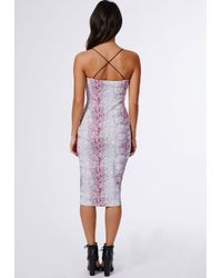 Missguided Multicolor Sam Snake Print Strappy Midi Dress Pink
