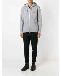 Givenchy Gray Zip Logo Hoodie for men