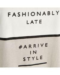 River Island Gray Grey Fashionably Late Oversized T-Shirt