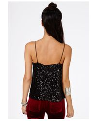 Missguided - Ayame Strappy Sequin Cami Top In Black - Lyst