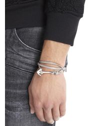 Miansai - Gray Grey Double Wrap Leather Anchor Bracelet for Men - Lyst