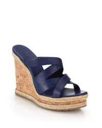 Jimmy Choo - Blue Prisma Cork-wedged Leather Mule Sandals - Lyst