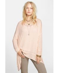 Free People - Pink 'shadow' Oversize Hacci Open Back Top - Lyst