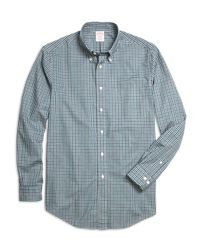 Brooks Brothers - Blue Madison Fit Heathered Gingham Sport Shirt for Men - Lyst