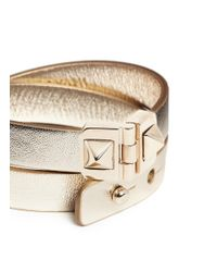 Valentino | Metallic Rockstud Double Wrap Hinge Leather Bracelet | Lyst