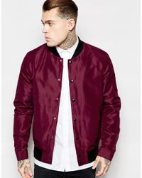 ASOS - Purple Bomber Jacket With Poppers In Burgundy for Men - Lyst