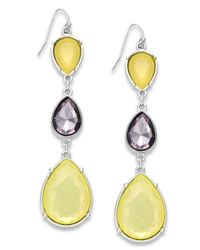 INC International Concepts | Silver-tone Yellow Bead Triple Drop Earrings | Lyst