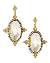 Freida Rothman | Metallic Cz Oval-drop Earrings | Lyst