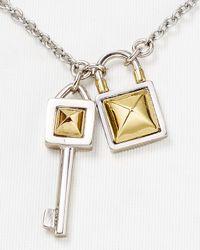 "Rebecca Minkoff | Metallic Lock & Key Pendant Necklace, 16"" | Lyst"