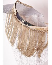 Missguided | Metallic Statement Chain Detail Choker Gold | Lyst