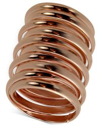 Guess | Pink Rose Gold-tone Multi-row Stacked Ring | Lyst