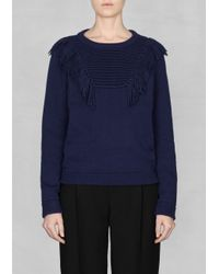 & Other Stories Blue Fringed Sweater