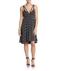 ABS By Allen Schwartz - Black Polka Dot Jersey Dress - Lyst