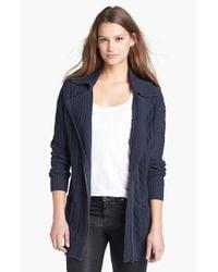 Caslon - Blue Cable Knit Zip Front Cardigan - Lyst