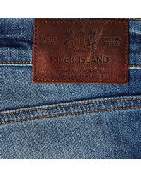 River Island Blue Mid Wash Dylan Slim Jeans for men