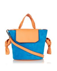 Jil Sander | Blue Scarf Small Leather and Suede Shoulder Bag | Lyst