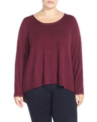 Eileen Fisher | Purple Bateau Neck Boxy Merino Jersey Sweater | Lyst