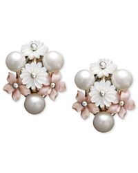 Macy's - White Pearl Earrings, Sterling Silver Cultured Freshwater Mother Of Pearl And Cultured Freshwater Pearl Flower Earrings - Lyst