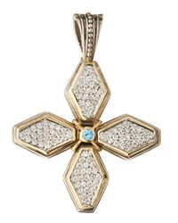 Konstantino | Metallic Pavé Diamond & Blue Topaz Cross Pendant Enhancer | Lyst