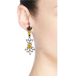 Iosselliani | Gray Cutwork Frame Zircon Drop Earrings | Lyst