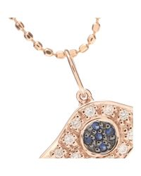 Sydney Evan | Pink Evil Eye 14kt Rose Gold Necklace With Sapphires And Diamonds | Lyst