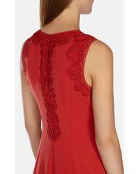 Karen Millen | Red Lace Detail Pencil Dress | Lyst